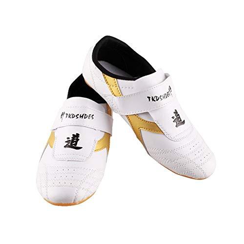 Dilwe Zapatos de Taekwondo Zapatos de Suela Suave de Cuero de PU para Ejercicio de Gimnasio Taichi Entrenamiento35...