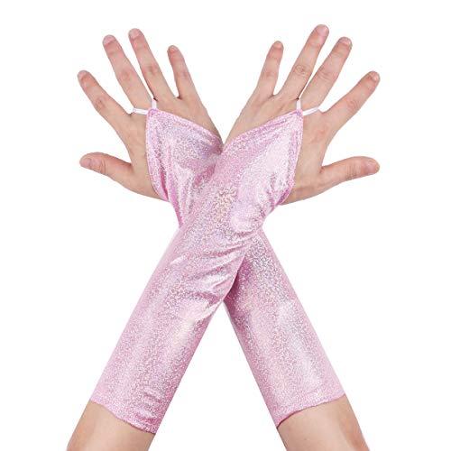 inhzoy Damen Wetlook Lange Handschuhe Fingerlos Stulpenhandschuhe mit Glitzer für Hip-Hop Karneval Party Cosplay Fasching Nachtclub Clubwear Light Pink ()