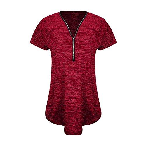 UFACE Damen Weste, Kurzarm-Reißverschluss Saum V-Ausschnitt Weste Tops Tunika Freizeithemd Bluse (S, Rot)