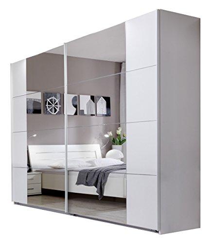 Dreams4Home Schwebetürenschrank 'Lence', Kleiderschrank, Schrank, Schlafzimmerschrank, mit Spiegel, Beleuchtung:mit...