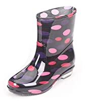 ANTBTS Simple Rain Boots,Colorful Ankle Rubber Rain Boots Fashion Transparent Waterproof Slip-Resistant Round Toe Flat With Red Polka Dot Pattern Simple Lovely Soft Lightweight Comfortable