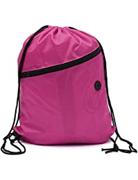 Rose Red : SODIAL(R) Book Bag With Cord Sports Gym Swimming PE Dance Shoe Backpack Rose Red