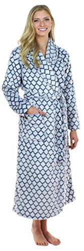 Sleepyheads zweifarbiger, langer Morgenmantel aus Fleece für Damen Navy Quatrefoil - Frauen Fleece-roben Lange Für