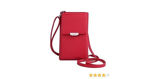 Yousorld Borse Donna, Piccolo Borsello in Pelle PU Borsa del Portafoglio Sacchetto del Cellulare con Tracolla per Le Donne Ragazze Rosso