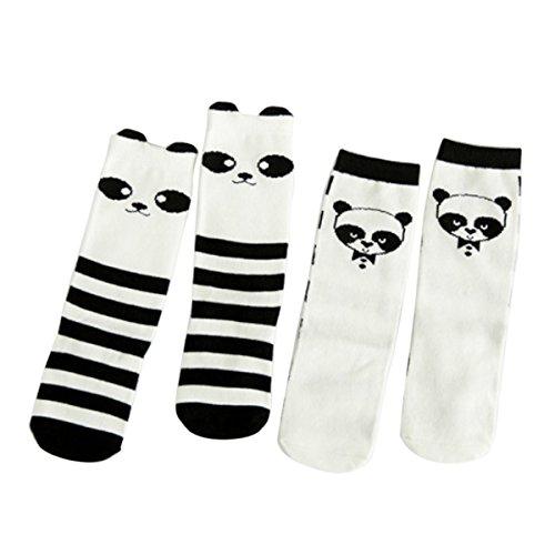 Happy Cherry Baby Kinder Unisex 2 Paar Socken Kniestrümpfe, Baumwolle süße Kindersocken Set für Mädchen und Jungen (1 bis 3 Jahre alt) - Panda (Zwei-paar-pack Sock)