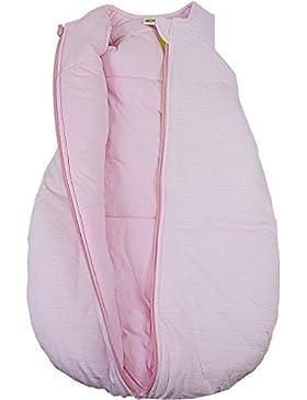 Baby + Kleinkind Schlafsack Ringelstreifen hellrosa, wattiert + warm gefüttert für kühlere Tage, 4-Jahreszeiten-Baumwolle
