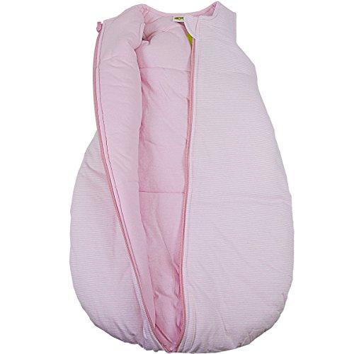 Baby + Kleinkind Schlafsack Ringelstreifen hellrosa, wattiert + warm gefüttert für kühlere Tage, 4-Jahreszeiten-Baumwolle Größe 74/80