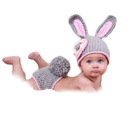 QHGstore Baby Kleidung Niedlich häkeln neugeborene Baby Kostüm Baby Kaninchen Blumen Baby fotografischen Kleidung Photographing Kleidung (Kostüme Mutter-baby)