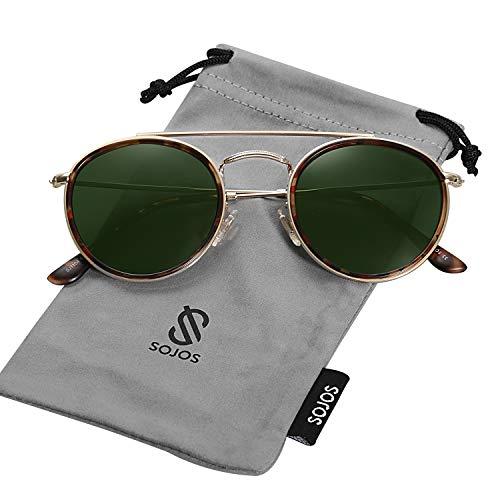 Sojos occhiali da sole uomo e donna rotondi polarizzati doppio ponte specchiati montatura in metallo unisex sunset sj1104 con oro telaio/g15 lente