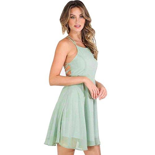 n-Party-Cocktail-Backless-Bandage Ärmelloses Minikleid (S, Grün) (Günstige Mittelalter Kleid)