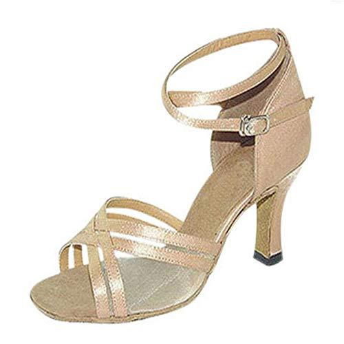 Sandali donna latini tacco in pelle sintetica fondo morbido scarpe da ballo in raso contacco a spillo, 1,37
