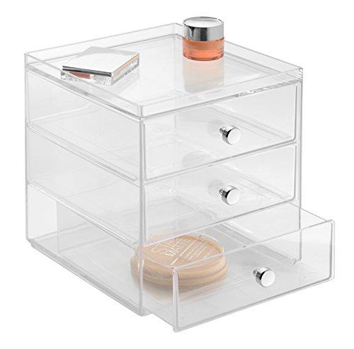 iDesign Schubladenbox für Kosmetik, kompakter Make-Up Organizer mit 3 Schubladen aus Kunststoff, stapelbarer Schubladenturm für Schminke, Kosmetika & mehr, durchsichtig