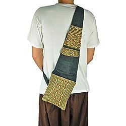 bolso de hombro étnico para hombres virblatt hecha de cáñamo con muchos bolsillos prácticos y patrones tejidos a mano de tribus asiáticas de la montaña - Erfinderisch