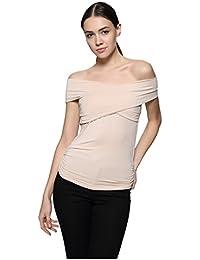 Maggie Tang Spalla Trendy Aderente Croce a Barca Modal Camicetta Top t-Shirt 1fa326dee60