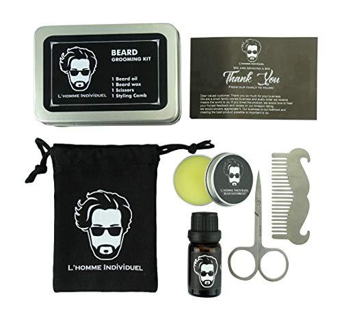 L'HOMME INDIVIDUEL Bartpflege Set Mit Reisetasche und Reisebox, Leave-in Bartbalsame, BartÖl, Bartkamm, Schere, Set für Männer, Bart Styling