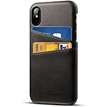 Funda iPhone X Cuero Caso con Titular Airart de tarjetas Prima Vendimia Caratula de cartera Ultra delgado Profesional Ejecutivo Chasquido En Espalda Cubrir con 2 ranuras para tarjetas de crédito ID Titular para el iPhone X