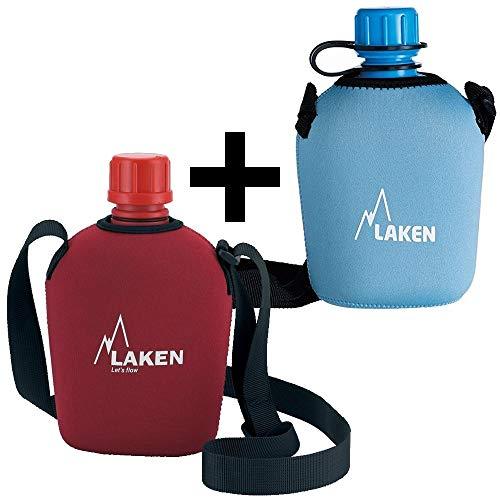 Laken Pluma 1 Liter Water Trinkflasche Canteen mit Neopren-überzug 2-Pack Blau+Rot