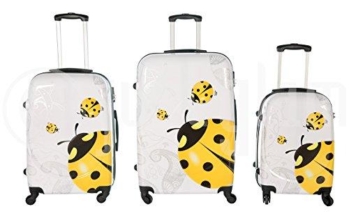 Set de 3 maletas rigidas 4 ruedas de policarbonato abs extremista ligero equipage pequeno de cabina art coccinella