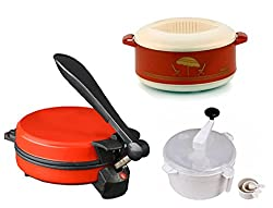 GTC COMBO OF NATIONAL RED DETACHABLE ROTI MAKER, CASSEROLE AND DOUGH MAKER