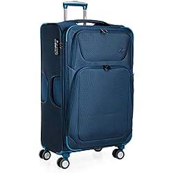 JASLEN - Maleta Trolley expandible 70 cm Grande poliéster EVA. 2 Compartimentos Exteriores. Semirígida, Resistente y Muy Ligera. Mango telescópico, 2 Asas 4 Ruedas Dobles. XL 51970, Color Azul