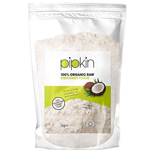 Pipkin 1KG de Harina Orgánica de Coco, Sin Refinar, Cruda, Sin Gluten, Sin Frutos Secos, Reemplazo Saludable de Granos y Harina de Trigo