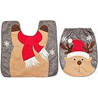 BESTOYARD Tapete de baño de Dos Piezas Juego de Navidad Tema Antideslizante Alfombra de Inodoro Alfombra Cubierta de la Tapa del Asiento del Inodoro (Elk)