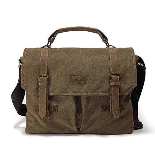 Losmile borsa a spalla da 15.6 pollici,borsa per computer portatile laptop vintage a tracolla borse messenger da uomo per viaggio/università/lavoro in vera pelle e tela.(marrone)