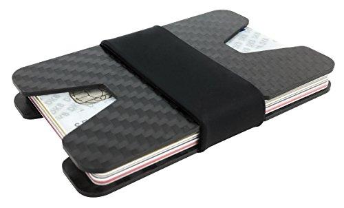 Carbon slim Wallet mit RFID Blocker für 8-12 Karten Minimalisten Geldbeutel Kreditkartenhalter Kreditkartenetui Portemonnaie Kartenetui Herren Kreditkarten Münzfach Geldklammer NFC Schutz Slim - Womens Wallet Card Slim-credit