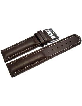 Uhrenarmband - Watchband Berlin - echtes Leder - Glatt - dunkelbraun - weiße Naht - 22mm