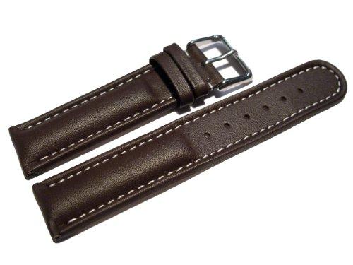 Uhrenarmband - Watchband Berlin - echtes Leder - Glatt - dunkelbraun - weiße Naht - 18mm