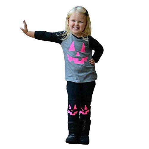 Halloween Angebote Kinder Für Niedliche (DBHAWKinEU Halloween Kleinkind Baby Mädchen Kürbis Patch T-shirt Tops + Hosen Outfits Set)