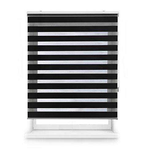 Blindecor Estor Enrollable Doble Tejido Noche Y Día, Poliéster, Negro, 120 x 180 cm