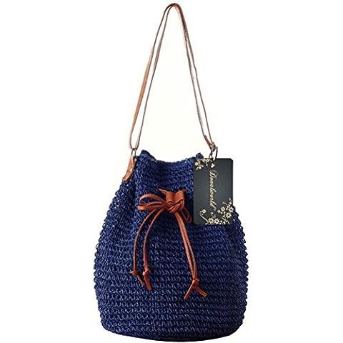 Donalworld Petit sac à main design seau pour femme Tissage coréen avec cordon de serrage - Bleu -