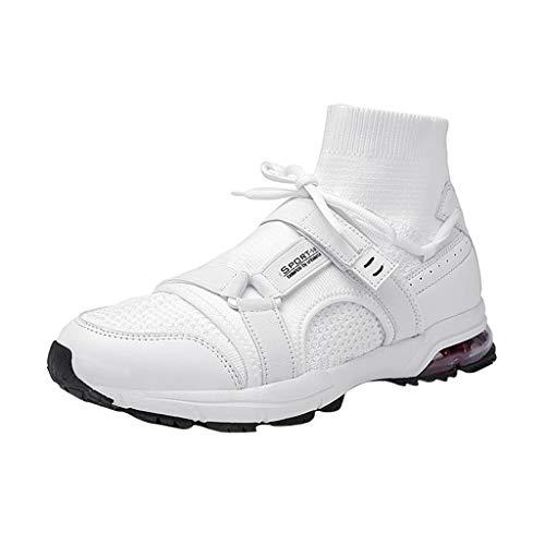 BASACA Herren Sneaker Sommer Fly Knit Laufschuhe Fitness Atmungsaktiv Mode Turnschuhe Trend Soft Bottom Sportschuhe Freizeit Socken Schuhe (45 EU, Weiß)