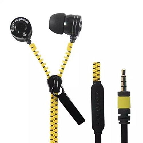 Seta ROAD® metallo auricolari cerniera con auricolari stereo mic compatibile iPhone Samsung Android telefono cellulare (Seta Zipper)