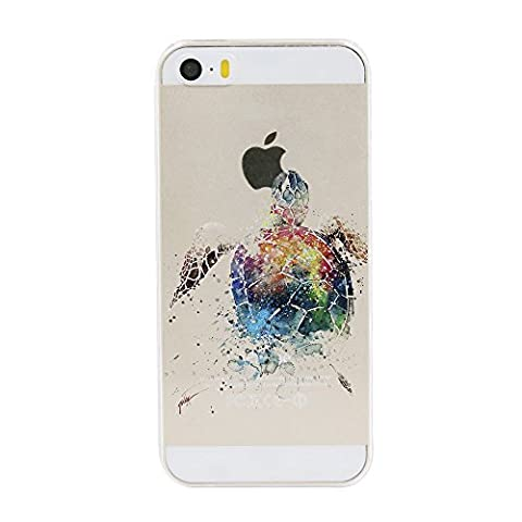 iPhone 5 5S SE Case,Cute Amusing Pattern on Soft TPU Silicone Protective Skin Ultra Slim & Clear with Odd Animal Design Gift Bumper Back Cover for iPhone 5 5S SE,Sea turtle