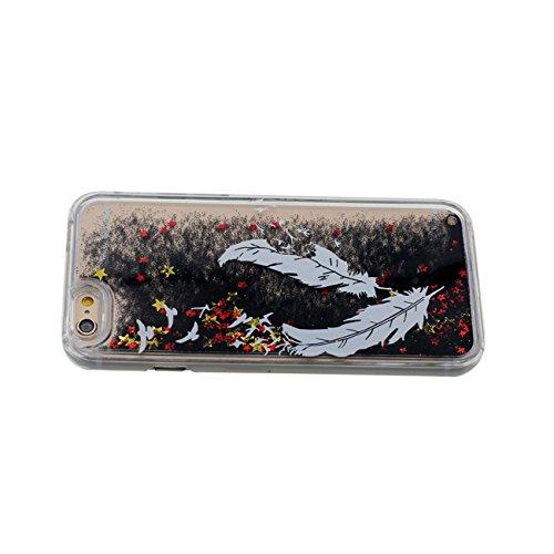 Schutzhülle Für Apple iPhone 6 6S 4.7 inch Hülle Cover Sterne Schwarz Sand Fließen Hart Transparent Flüssiges Wasser Gefieder Muster iPhone 6S Case mit 1 Silikon Halter color-5