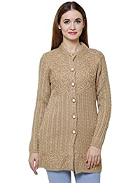 Matelco Women's Woollen Embroidered Cardigans with Pockets (Brown, Free Size)