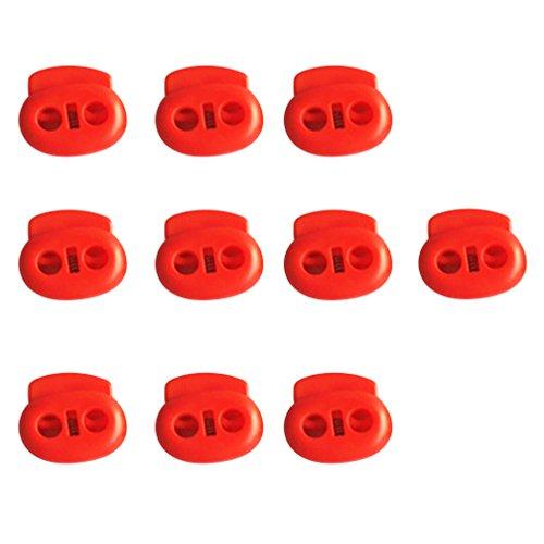 Sharplace Kordelstopper aus Kunststoff 10 Stk. Farbe: Rot Kordelklemme Anti-Rutsch für Seile