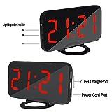 Comaie® Digitaler Wecker mit USB-Ladeanschluss-Ladegerät für die Nachttisch Schlafzimmer Küchen-Timer mit Wakeup Tragbare Ideales Geschenk für Reisen mit Bild von-Spiegel mit Snooze-Hotel Klingel
