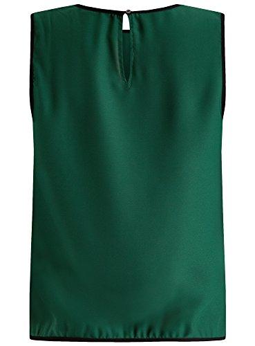 oodji Ultra Damen Top mit Kontrastbesatz Grün (6E29B)