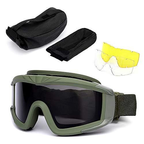 Lixada Taktische Brillen UV400 Schützend Brille Staubdicht Radfahren Ausbildung CS Gaming Brille mit 2 Austauschbar Linse -
