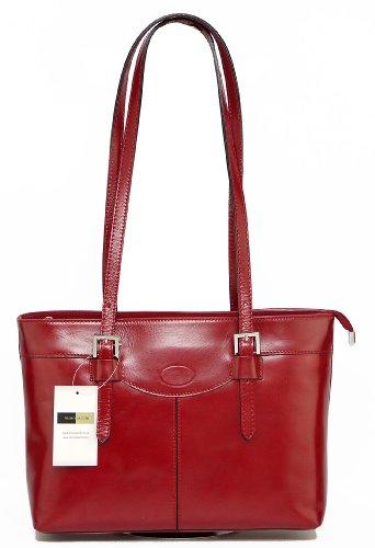 In pelle italiana, Long trattati doppia fibbia tracolla bauletto.Include una custodia protettiva marca. Rosso
