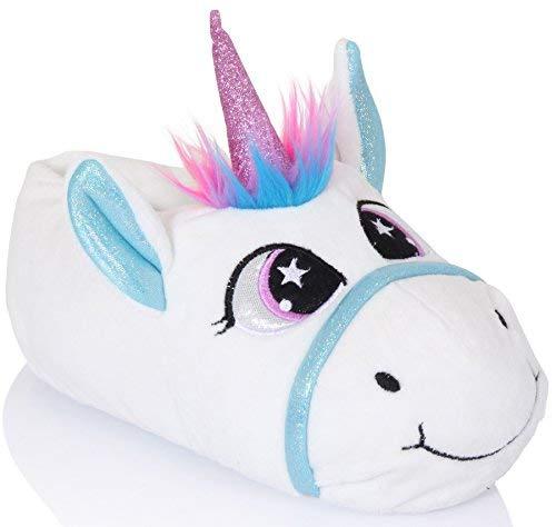Lora Dora Hausschuhe für Damen, Kinder, Mädchen, 3D-Tierfigur, Plüsch-Hausschuhe, Pudel, Bulldogge, Panda, Kaninchen, Größe 36-42, Weiß - Jezebel Unicorn - Größe: 38/39 EU