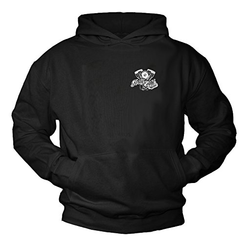 MAKAYA Forty Eight Squad - Motorrad Kapuzenpullover Harley Motor V2 - Motorradbekleidung schwarz M Squad Hoodie Sweatshirts