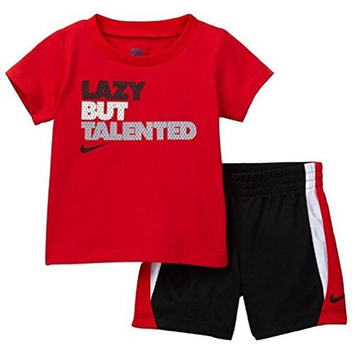 Nike Infant Boys Lazy But Talented Two Piece Tee Shirt and Shorts Set Black/Red Size 18 Months