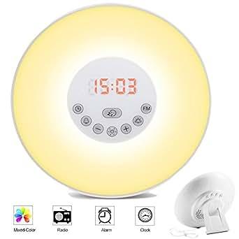 Lifebee Wake-Up Light, con Radio FM Sveglia Luminosa con Simulazione Alba / Tramonto Sveglia con 6 Allarmi, Musica e Funzione Snooze, Funzione Radio FM, 5 Colori per Sensori Tattili di Luce di Notte Comodino Luce