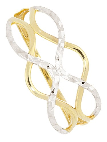 MyGold Damen Ring Weißgold Gelbgold 333 Gold (8 Karat) Bicolor Ohne Steine Gr. 54 Damenring Goldring Geschenke Für Frauen Emeni R-07931-G362-W54