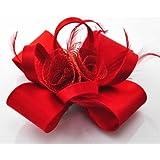 Damen rot Fascinator verknotete Bögen Federn Blumen