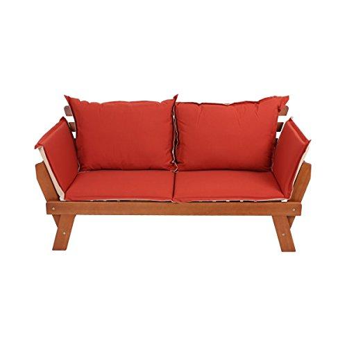 VARILANDO Bank 'Franky' mit umklappbaren Armlehnen Eukalyptus 2-Sitzer mit Kissen Gartenbank Holzbank